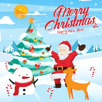 Merry christmas celebration card illustration