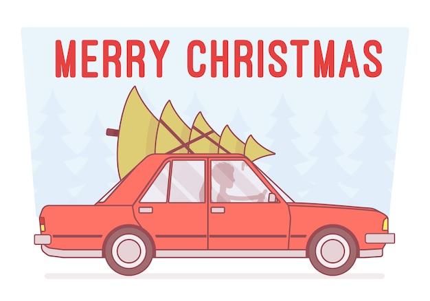 Merry christmas tree en la parte superior del auto