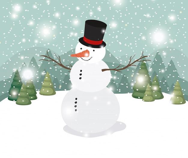 Mery tarjeta de navidad con muñeco de nieve en paisaje nevado