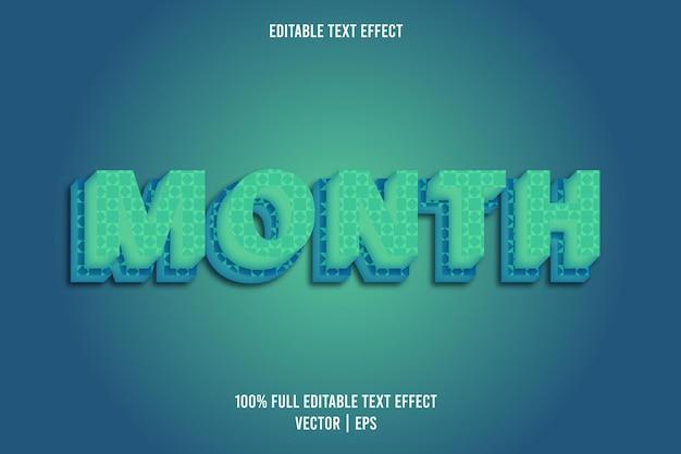 Mes 3 dimensión efecto de texto editable color cian y azul