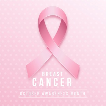 Mes de concientización sobre el cáncer de mama con cinta rosa realista