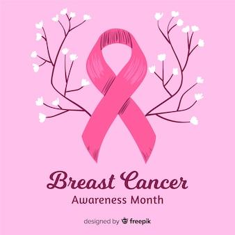 Mes de concientización sobre el cáncer de mama dibujado a mano