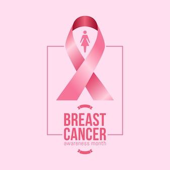 Mes de la concientización sobre el cáncer de mama en octubre con una cinta rosa realista
