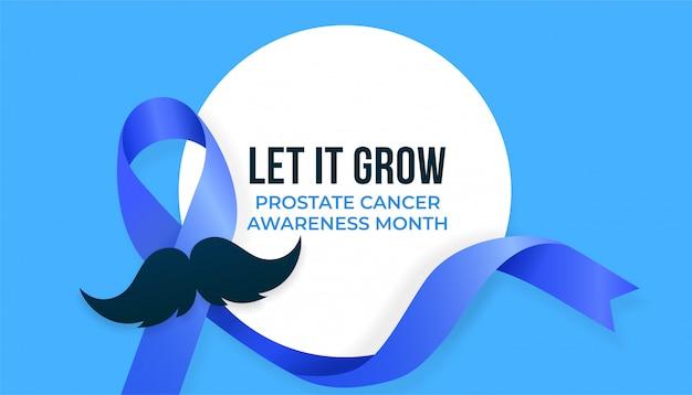 Mes de concientización sobre el cáncer de próstata, diseño de campaña con cinta azul y bigote ilustración vectorial