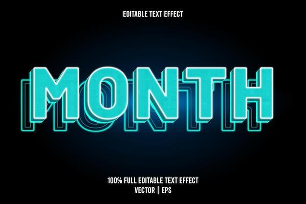 Mes efecto de texto editable color cian