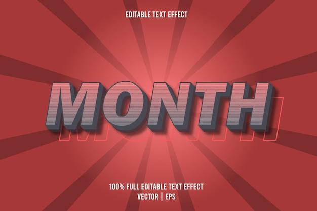 Mes efecto de texto editable color gris y rojo.