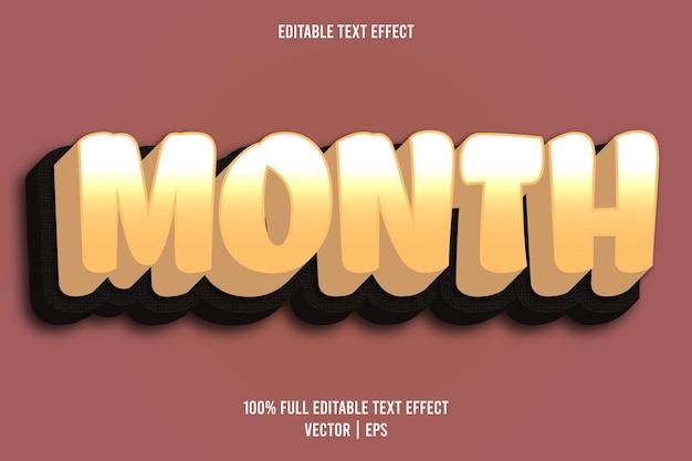 Mes efecto de texto editable estilo cómic color amarillo