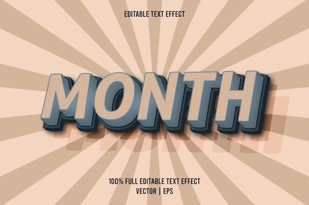 Mes efecto de texto editable estilo cómic color marrón y azul