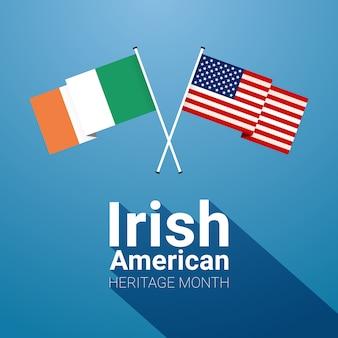 Mes de la herencia irlandesa-estadounidense con banderas cruzadas irlandesas y barras y estrellas
