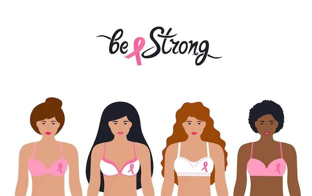 Mes nacional de concientización sobre el cáncer de mama. un grupo de mujeres de diferentes nacionalidades en sujetadores con una cinta rosa.