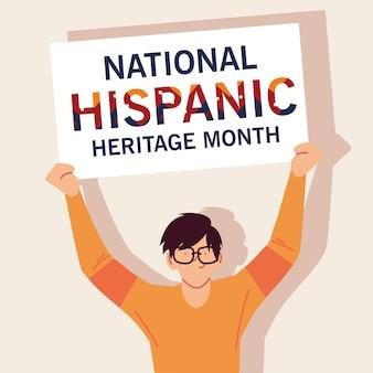 Mes nacional de la herencia hispana con dibujos animados de hombres latinos, ilustración del tema de la cultura y la diversidad