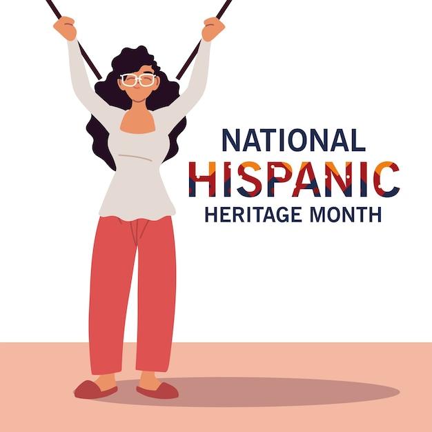 Mes nacional de la herencia hispana con dibujos animados de mujeres latinas, ilustración del tema de la cultura y la diversidad