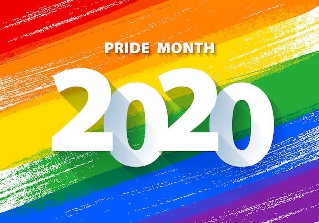 Mes del orgullo con el fondo de la bandera lgbt del arco iris.