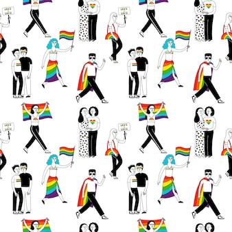 Mes del orgullo. patrón sin fisuras con un grupo de personas que participan en un desfile del orgullo gay.