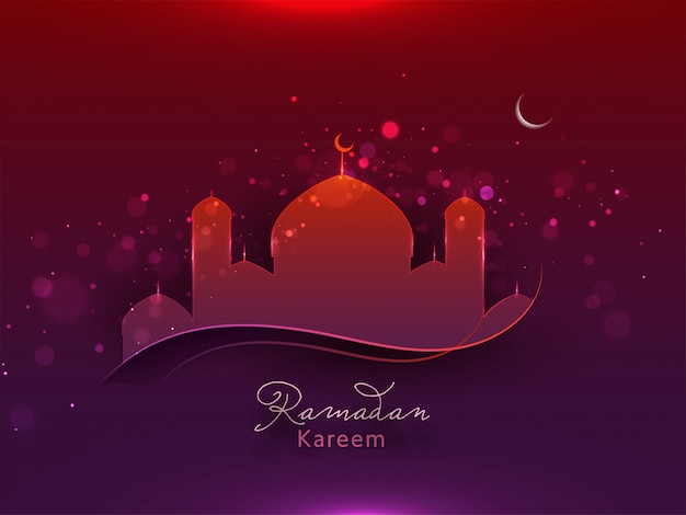 Mes sagrado islámico del concepto de ramadan kareem con luna brillante sobre fondo rojo y morado.