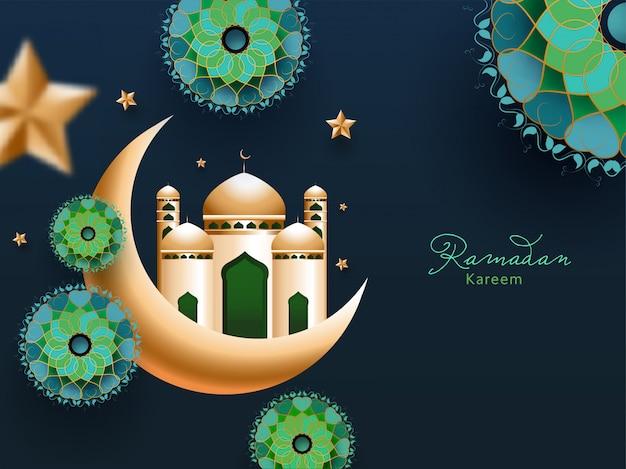 Mes sagrado islámico del concepto de ramadán kareem con luna creciente dorada y mezquita, exquisito estampado de flores y estrella sobre fondo azul verde azulado.