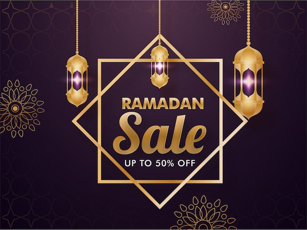 Mes sagrado islámico del concepto de venta de ramadán con colgantes faroles dorados sobre fondo floral decorado púrpura.