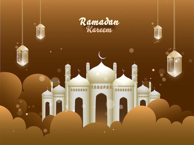 El mes sagrado islámico de oraciones, ramadan kareem con una hermosa mezquita, colgando faroles iluminados y nubes sobre fondo marrón.