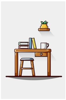 Mesa de aprendizaje con café y plantas decorativas.