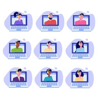 Mesa de ayuda, avatares de consultores de call center. concepto de atención al cliente.