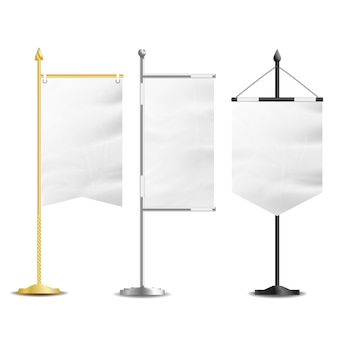 Mesa de bolsillo de banderas blancas en blanco
