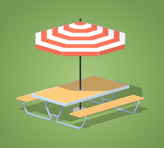 Mesa de café con sombrilla