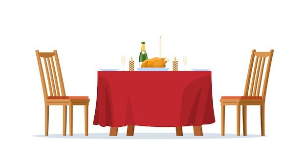 Mesa de cena familiar de navidad