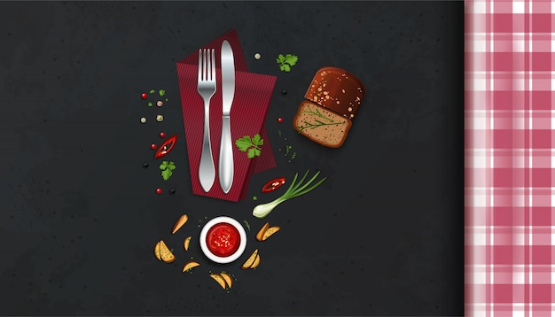 Mesa de cocina con mantel a cuadros, cubiertos y comida. vista superior. ilustración