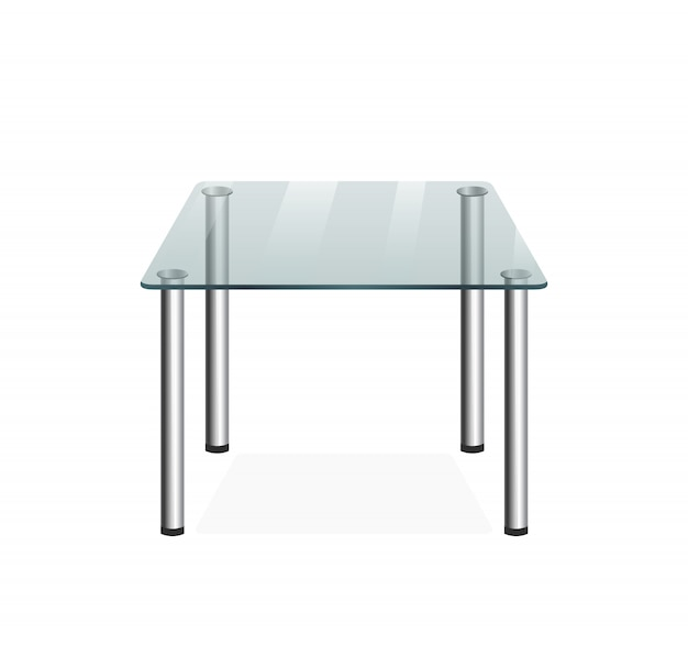 Mesa de cristal transparente