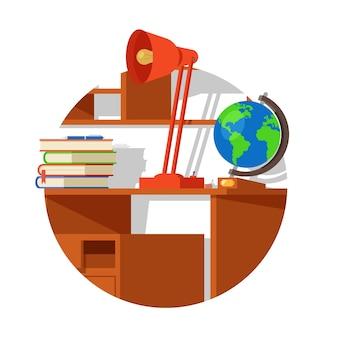 Mesa de madera de la escuela con libros de lámpara de globo