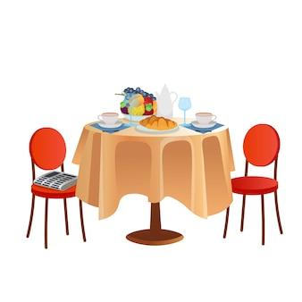 Mesa de desayuno con vasos de té croissants y frutas. ilustración de dibujos animados.