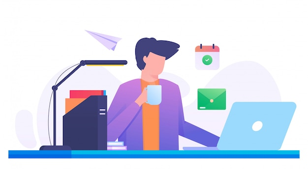 Mesa de escritorio hombre beber café ilustración plana