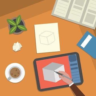 Mesa de estudio e ilustración de escritorio de trabajo de arte. lección escolar estudiando y elementos de ilustración digital vista superior.