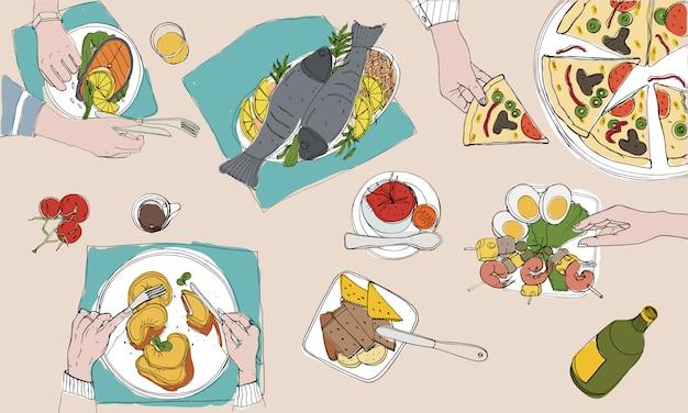 Mesa festiva, mesa puesta, vacaciones ilustración colorida dibujada a mano, vista superior