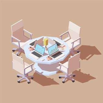 Mesa isométrica con cuatro puestos de trabajo.