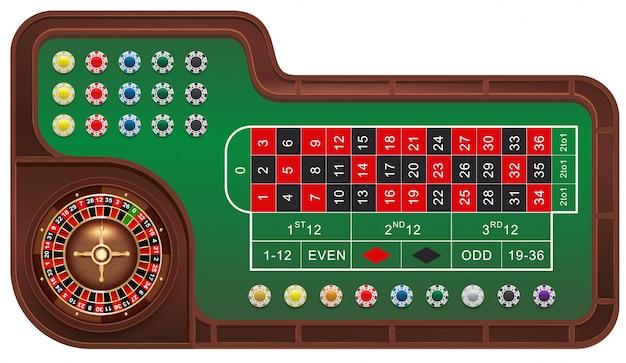 Mesa de juego de ruleta y fichas de casino