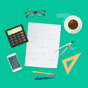 Mesa de lecciones de educación escolar o concepto de escritorio de estudio de matemáticas en diseño de dibujos animados plana