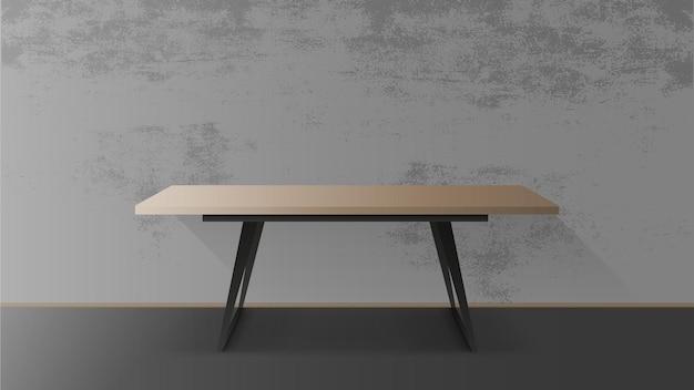 Mesa de madera con base de metal negro. mesa vacía, gris, muro de hormigón. ilustración
