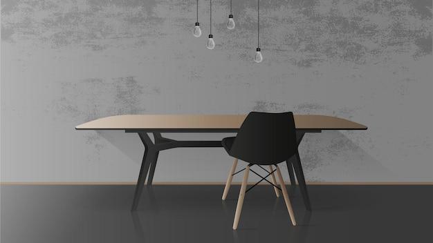 Mesa de madera con base de metal negro. silla negra. mesa vacía, gris, muro de hormigón. ilustración