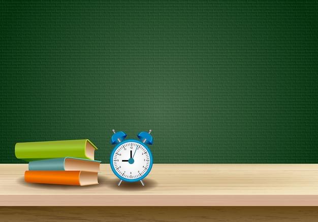Mesa de madera con fondo de diseño educativo.