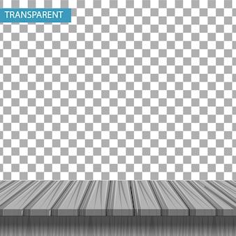 Mesa de madera realista sobre un fondo transparente. maqueta para la exhibición de su producto. sobremesa 3d color arce gris claro. .