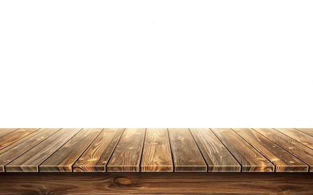 Mesa de madera con superficie envejecida