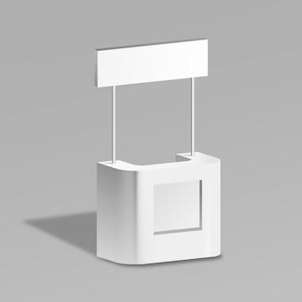 Mesa de mostrador de promoción realista con sombra