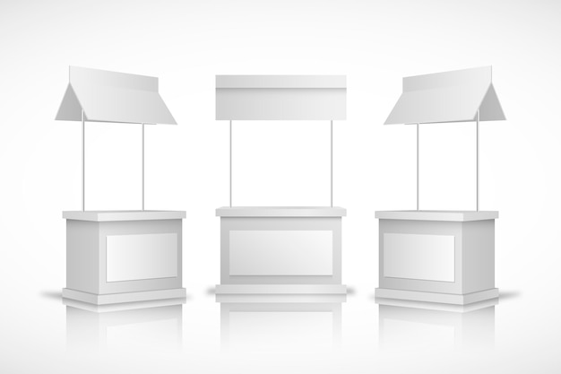 Mesa de mostrador de promoción realista vista frontal y vista lateral