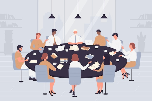 Mesa de negociación con gente de directores de políticos de dibujos animados