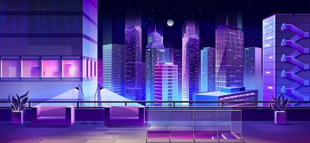 Mesa de observación en vector de techo de edificio de ciudad