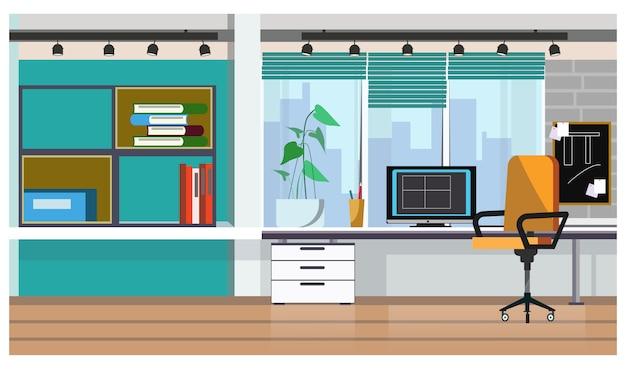 Mesa de oficina con ilustración de computadora de escritorio