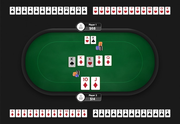 Mesa de póker sala de póker en línea. baraja completa de naipes. ilustración del juego de texas hold'em.