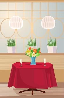 Mesa reservada para cita romántica.