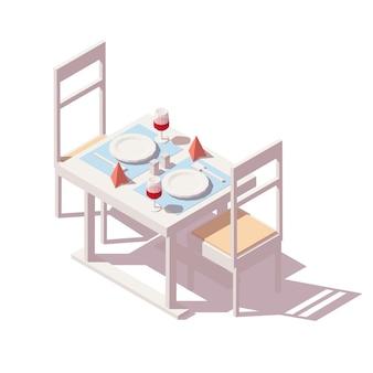 Mesa de restaurante reservada para dos personas con copas de vino, sillas, servilletas y platos.
